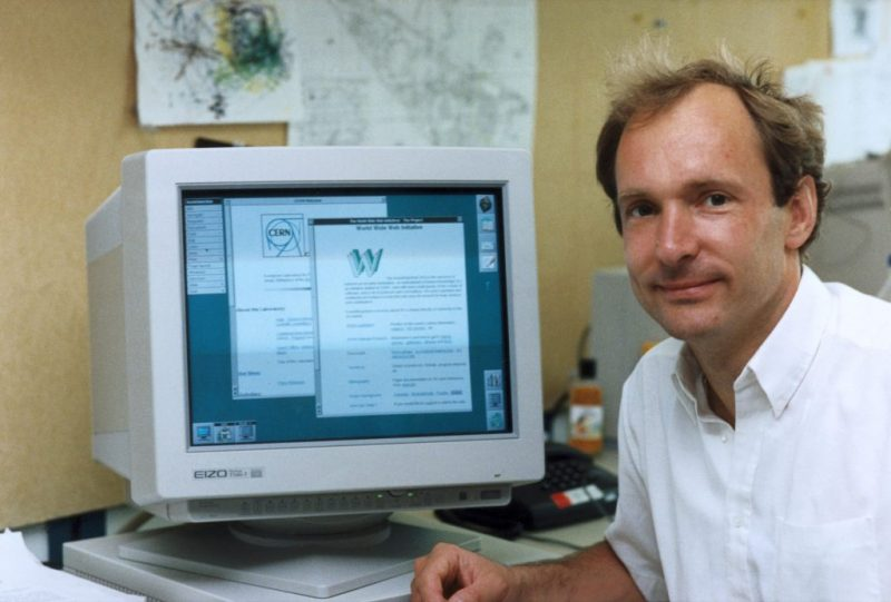 Tim Berners-Lee in front of the computer he built the web with