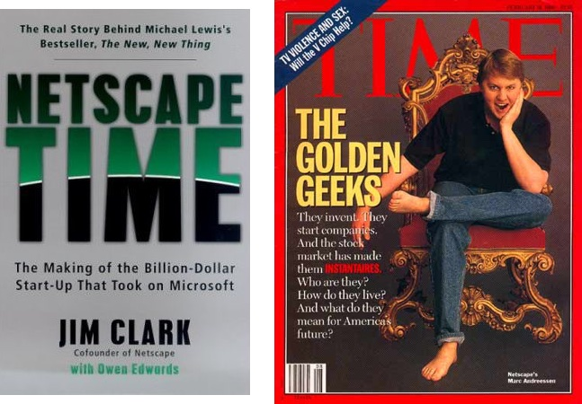 """A screenshot of the book """"Netscape Time"""" by Jim Clark, next to a screenshot of a Time Magazine cover featuring Marc Andreessen"""