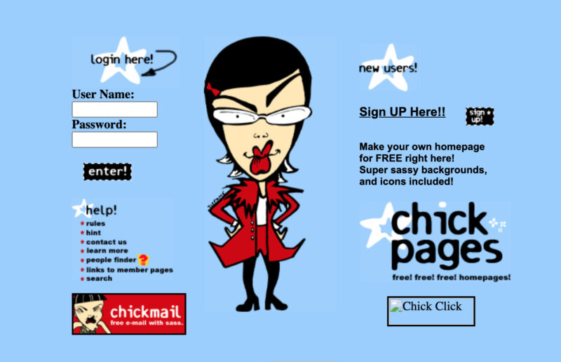 The homepage of the ChickPages service, which let users create their own homepages