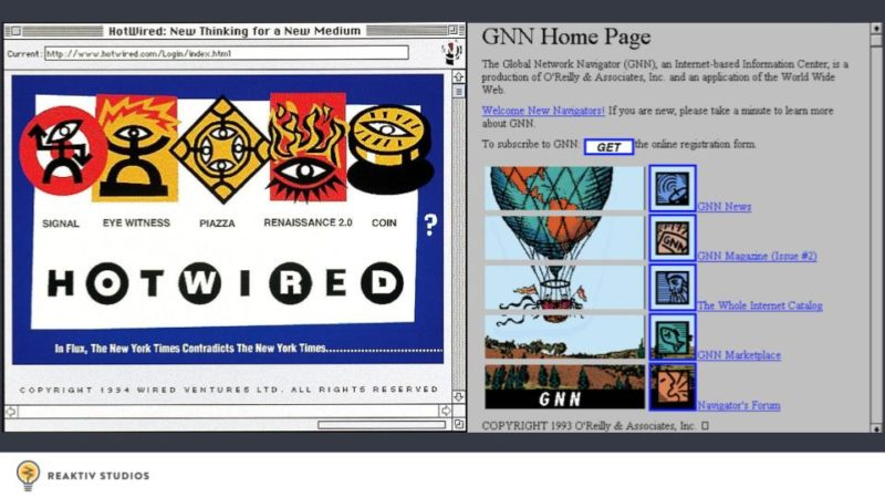 A screenshot of Hotwired and GNN, both websites from the early 90's
