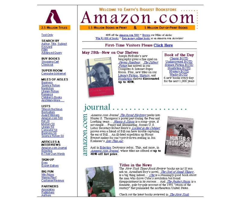 Screenshot of the Amazon.com website in 1997