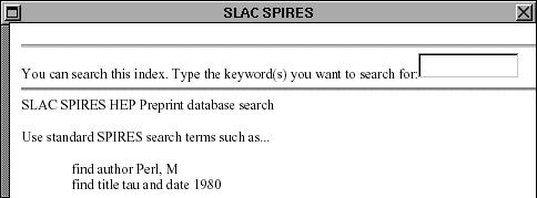 A screenshot of the SPIRES-HEP database website at SLAC when it was first released