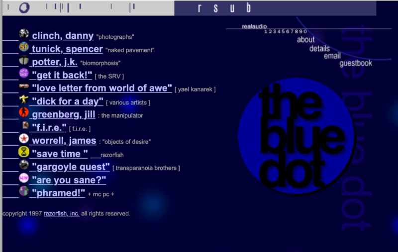 Screenshot of a site called the Blue Dot, created by Craig Kanarick