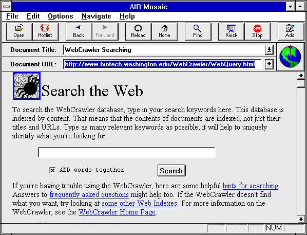 Screenshot of the AirMosaic homepage, which featured a custom search bar and some introductory text