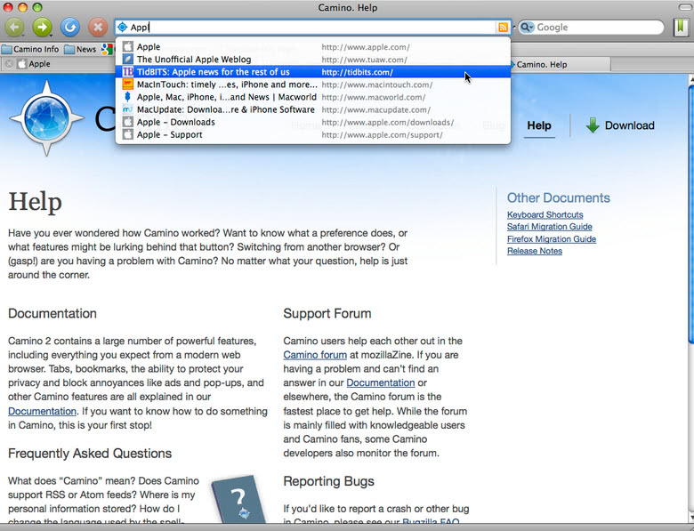 The Camino help page, as it looked on the Camino browser