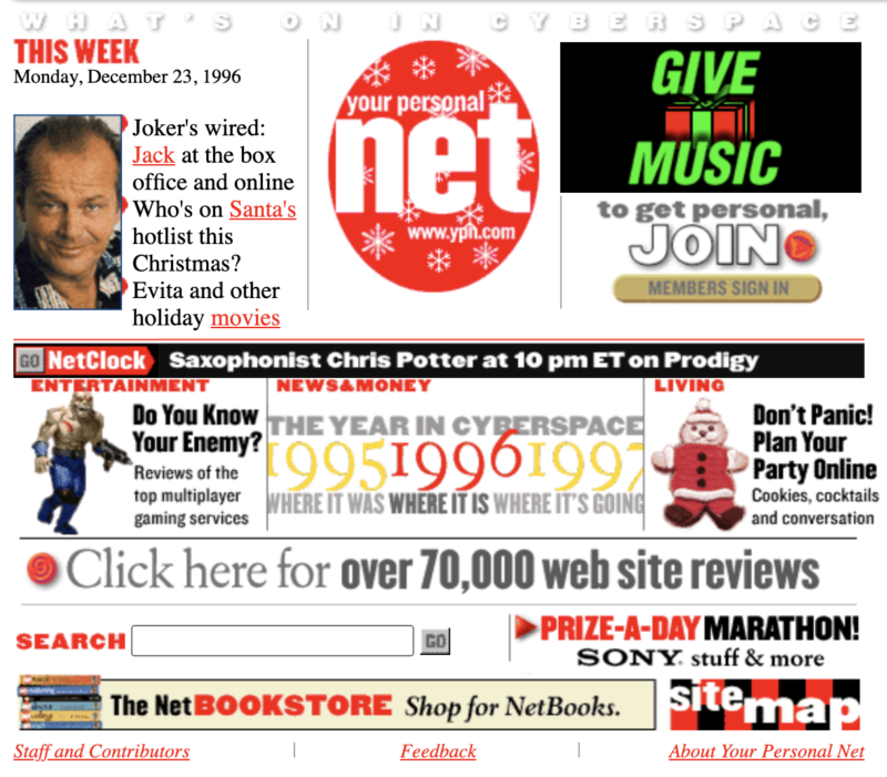 A screenshot of the website Your Personal Net from 1996. It's homepage features news and ads.